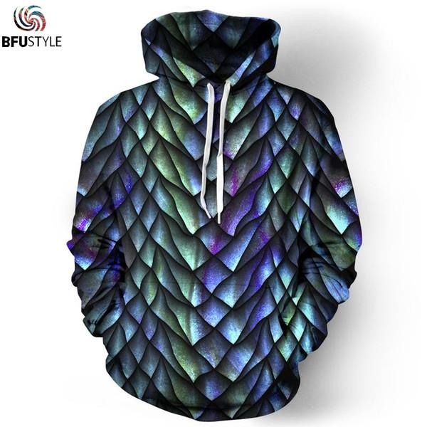 c16536188fc 3D Dragon Scale Hoodies Men Women 2019 Clothes Hoodie Pullover Sweatshirts  Long Sleeve Hoody Hip Hop