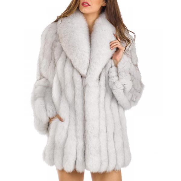 Moda Kadın Sahte Kürk Artı boyutu Parka Ceket Uzun Hendek Kış Sıcak Kalın Dış Giyim Palto XS-4XL
