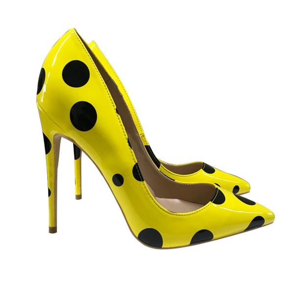 Yellow 12cm hohe Absatz Stilett flacher Mund zeigte sexy einzelne Schuhe nackten Farbe Partei Nachtclub Damenschuhe