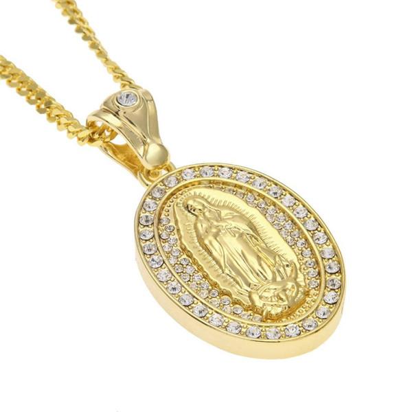 Religioso Vergine Maria Collane con ciondolo Mens ovale Fascino Catene placcate oro Collana completa Diamante oro argento Collane Gioielli amante regalo