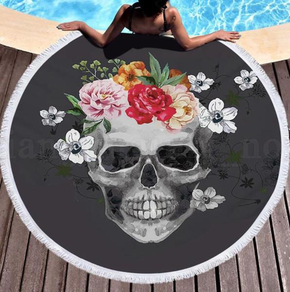 Summer Round Beach Towel With Tassels Beach Covers Bath Towels Picnic Yoga Mat Travel Boho Microfiber towel 150cm KKA6655