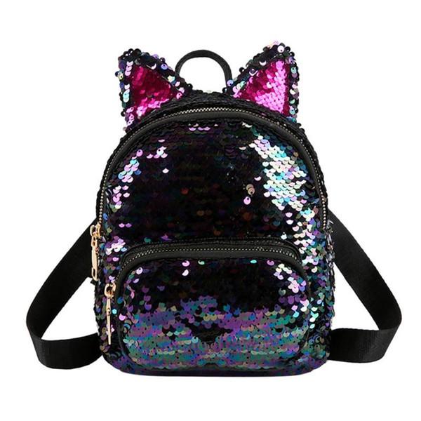 Cute Sequins Cat Ear Travel Backpacks Women Casual Shoulder School Bags Preppy Style Small Knapsack Rucksack