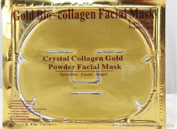 2019 Gold Bio Collagen Facial Mask Face Mask Crystal Gold Powder Collagen Facial Mask Sheets Moisturizing Beauty Skin Care Products
