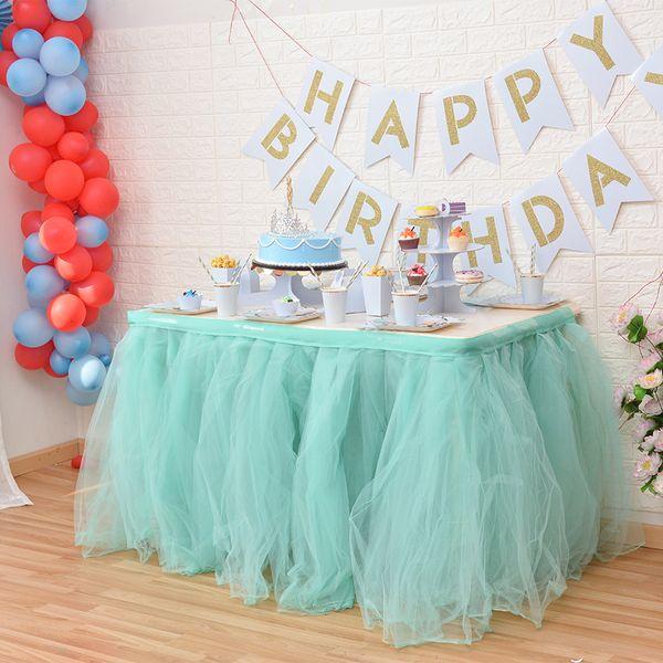 Flor colorida Luau Havaiano Partido Tropical Mesa De Tule Saia TUTU Talheres 100 * 80 cm Personalizar Wedding Baby Shower Birthday Party Decor