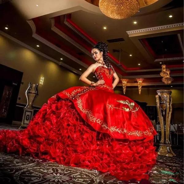 2020 New Querida vestido de baile Quinceanera Dresses Red Bordados Pageant Vestido Backless Satin Lace Up até o chão Doce 16 Vestido BC3346