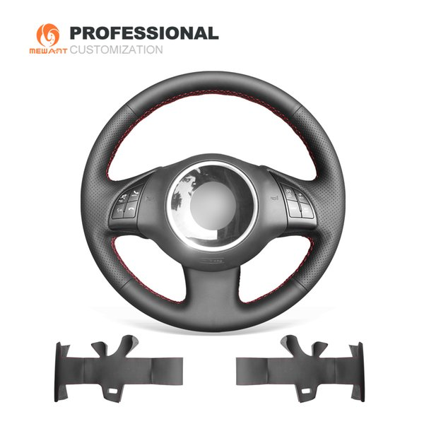 MEWANT Black Genuine Leather Hand-Stitched Durable Stitching Car Steering Wheel Cover for Fiat 500 2008 2009 2010 2011 2012