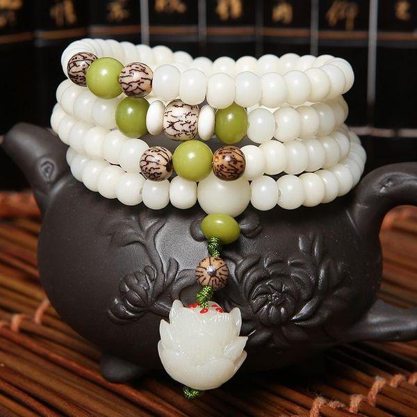 High Quantity Natural Stone Bracelet 108 Mala Yoga Necklace White jade Bodhi Beads Jewelry Hot Sale 2018 Free Shipping