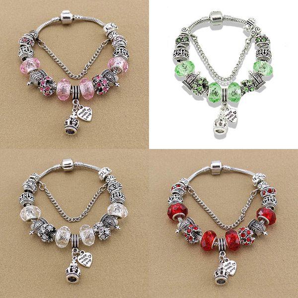 New Classic Crown Beaded Bracelet for Pandora Europe USA DIY Hot Sale Jewelry Beaded Charm Vintage Bracelet Free Shipping