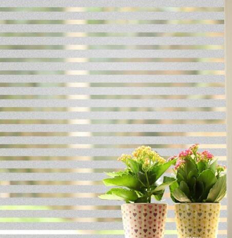 Stripe Opaque Frosted Glass Window Privacy Film Office Building Warehouse Bathroom Home Static Cling Easy Installation DIY Decorative Film