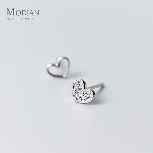Modian 2019 nuova vendita reale in argento sterling 925 con ciondolo cava trasparente CZ cuori orecchini per donna regalo gioielli moda sposa