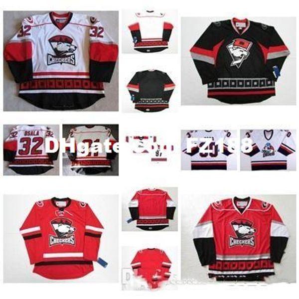 New32 Oskar Osala para hombre para mujer Niños AHL Charlotte Checkers 30 Matt Zaba 100% bordado personalizado Cualquier nombre Cualquiera No. Camisetas de hockey sobre hielo Corte de Goalit