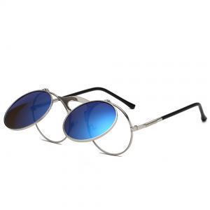 Steampunk Flip Up Sunglasses Flat Top Frame Thin Round Sun Glasses Rock Clear Lens Eyewear Clip On Lentes LJJP212
