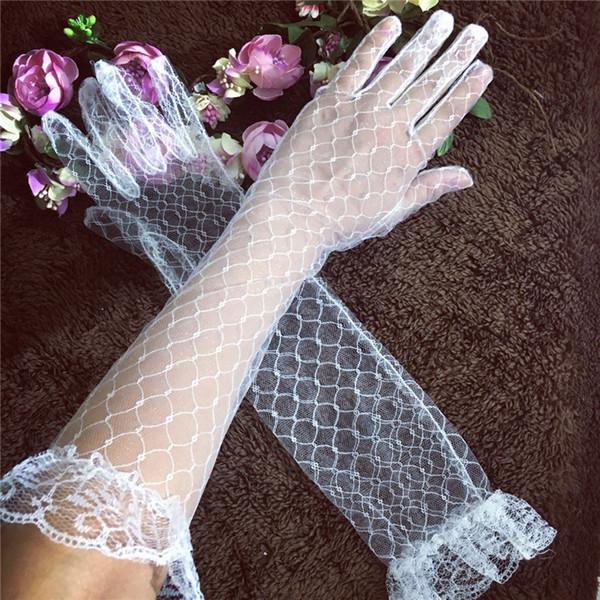 Summer thin section transparent mesh bride gloves long wedding dress wedding dress accessories lace long gloves