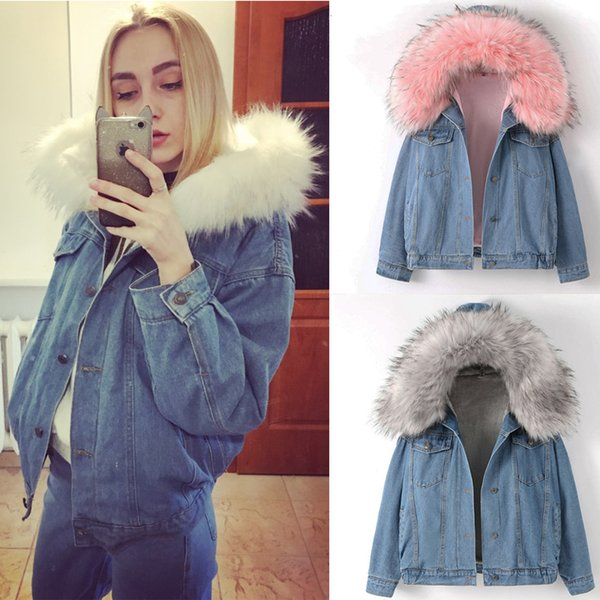 2019 New Warm Winter Bomber Femmes Hiver Automne Automne À Capuche Manteau Jeans Denim Vestes De Base Dames Top Coupe-Vent Femme Grand Y190826