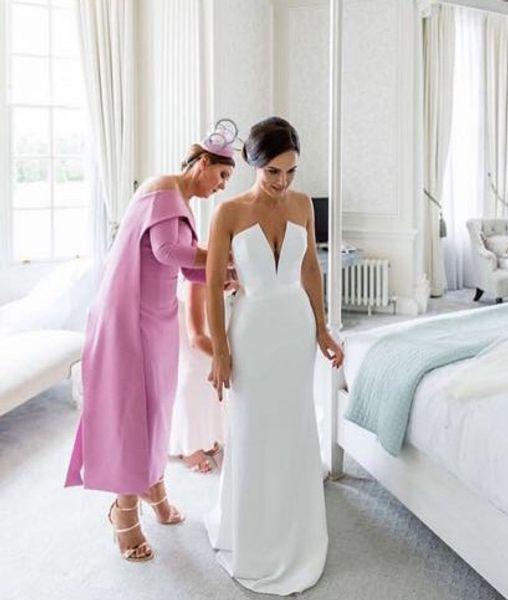 Simple Cheap Wedding Reception Dresses Deep V Neck Satin Sweep Train Backless Long Vestidos De Novia Wedding Dress Bridal Gown Wedding Dress Sale