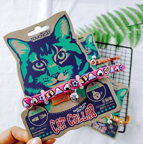 Druckmuster Katzenhalsband mit Glocke Verstellbare Katzenhalskette PU-Lederhalsbänder für kleine Hunde und Katzen