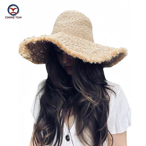 CHING YUN Women Summer hat sun hat Lafite straw cap brim fashion letter beach foldable Seaside travel feminine leisure