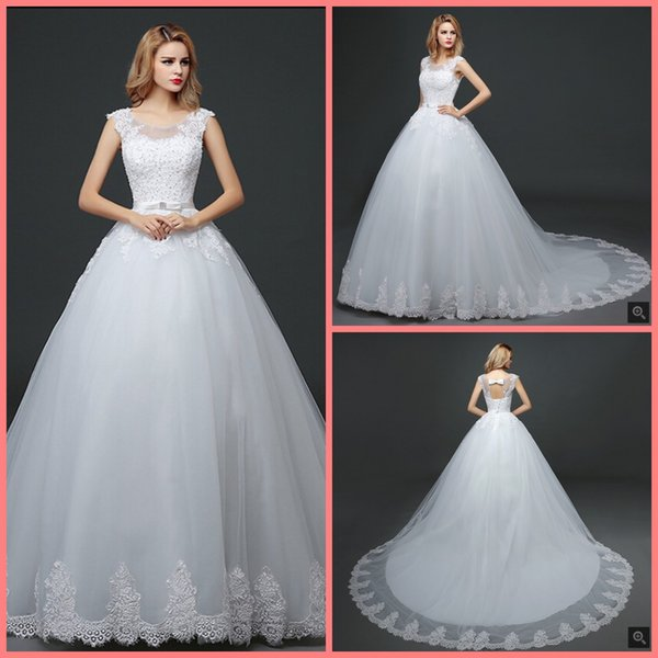 Vestido De Festa white lace appliques ball gown wedding dress cap sleeve hollow back sexy beaded bride dresses best selling 2019