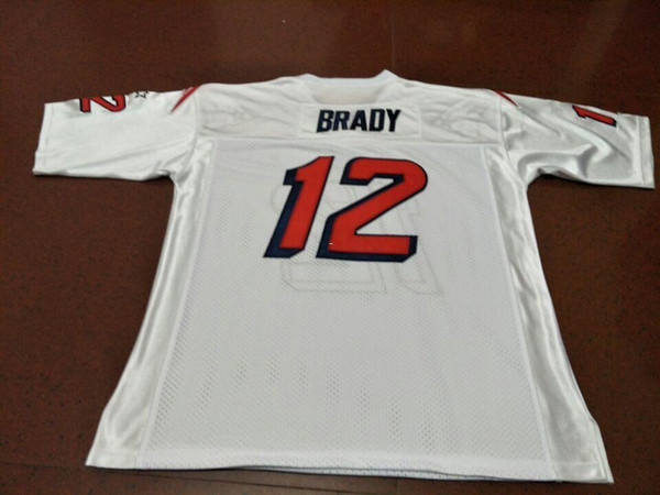 top popular Rare Men BRADY Game Worn Team Issued White BLUE Real embroidery College Jersey size s-4XL or custom any name or number jersey 2019