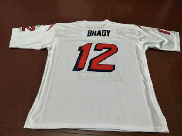 Rare Men BRADY Game Worn Team Issued White BLUE Real bordado College Jersey tamaño s-4XL o personalizada cualquier nombre o número jersey