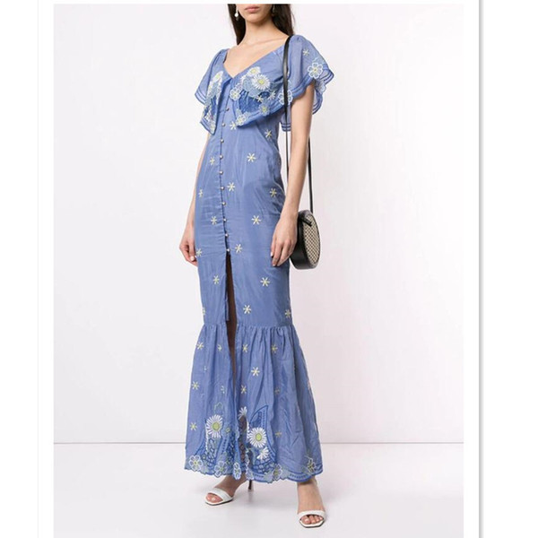 Australia Designer Dress For Women Sexy V Neck Off The Shoulder Bohemian Embroidery Trumpet Mermaid Long Dress Party