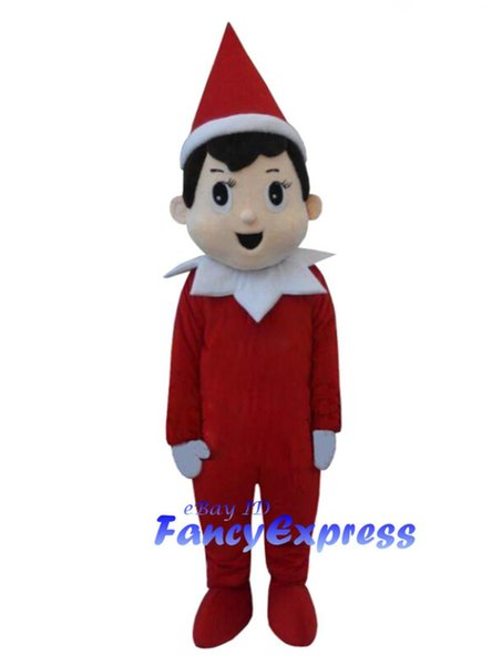 Christmas Boy Mascot Costume The Red Elf Halloween Fancy Party Dress Adult Outfit