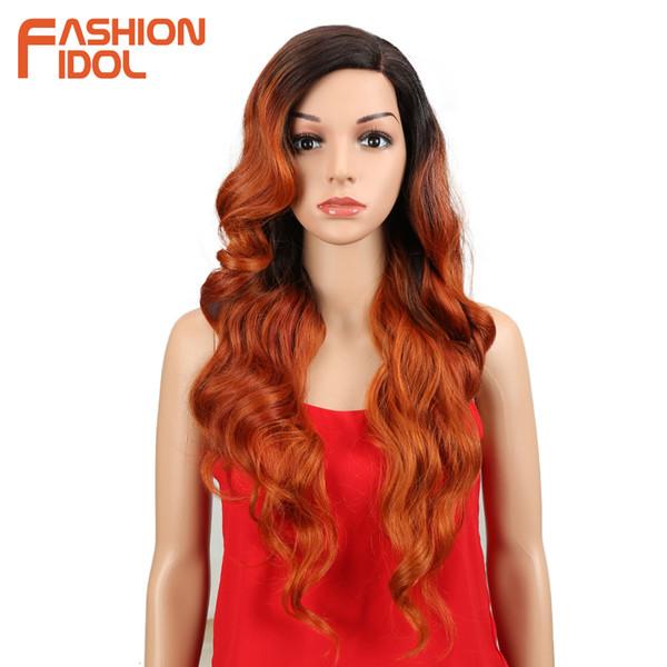 MODA IDOL parte dianteira do laço peruca longa peruca sintética Ombre 613 Loiro cabelo afrouxa onda perucas sintéticas da Mulher Negra Branca Cosplay WigMX190923