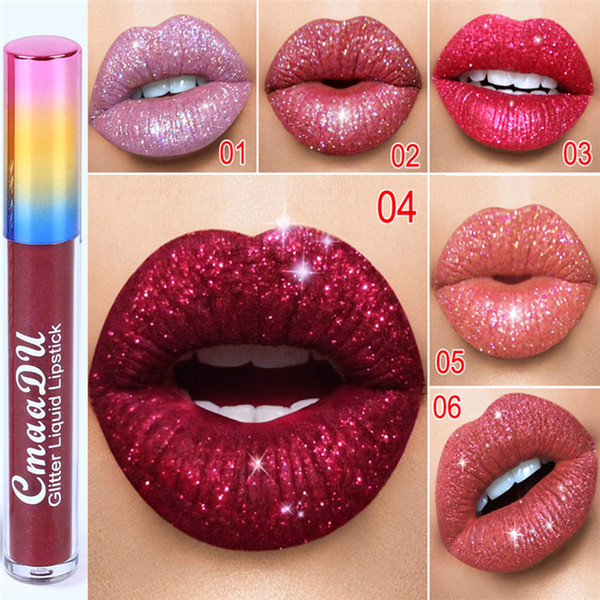 Cmaadu Glitter Flip brillo de labios Velvet Matte Lip Tint 6 colores Impermeable Duradero Diamond Flash Shimmer Liquid Lipstick 120pcs