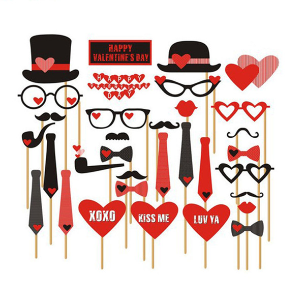 33pcs Wedding Photo Booth Props Party Decorations Supplies Mask Mustache For Fun Favors Photobooth Photocall