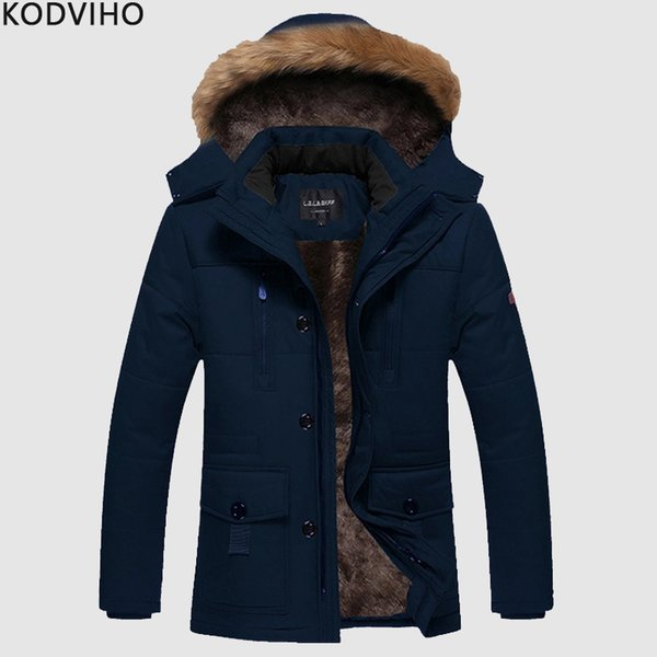 Fleece Jackets Mens Streetwear Plus Size Winter Casual Jacket Men Fur Collar Coat Man Warm Hooded Overcoat Veste Homme 8XL 2019