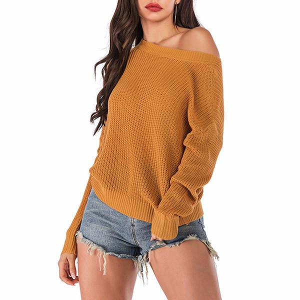 Плюс размер вязать свитер женщины Осень Зима повседневная с длинным рукавом o воротник сплошной пуловер свитер топ sueter mujer invierno 2019