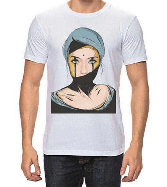 Ilustração da menina T-shirt dos homens Moda Novo Com Etiquetas Tshirt Camiseta Respirável