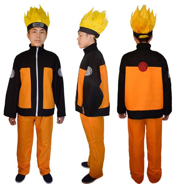 frete grátis Hot New Anime Uzumaki Naruto Cosplay Costumes Homens Mulheres Naruto Vestuário Naruto 2 peças conjunto