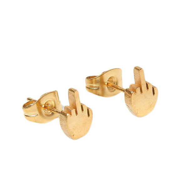Fashion Punk Style 3 Colors Hand-polished Hypoallergenic Titanium Steel Unisex Earrings Sold Per Piece