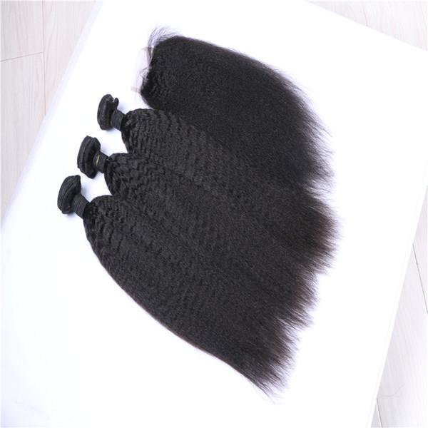 Afro rizado recto de la armadura del pelo grueso Yaki humano con cierre italiana Yaky paquetes de pelo con cierre de encaje 9A