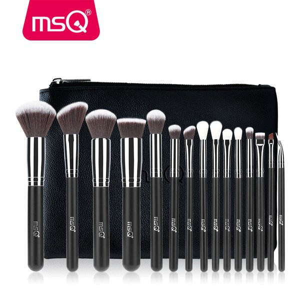 MSQ Pro 15 unids Maquillaje Pinceles Set Powder Foundation Eyeshadow Make Up Pinceles Cosméticos Pelo Sintético Suave Con Cuero de PU