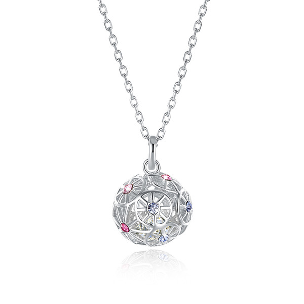 Sterling Silver Necklaces Crystal From Swarovski Elements S925 Silver Colored Ball Pendant Necklace Trendy Ladies Christmas Gifts POTALA311