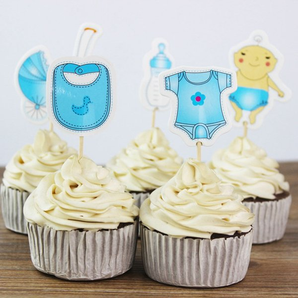 20pcs Baby Boy Girl Favors Birthday Bottles Shaped Cupcake Toppers Baby Shower Party carriage Design Decorate Cake Toppers