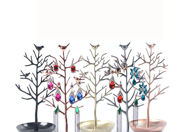 Bird tree earrings stand ornaments display stand alloy tree shape acacia tree stand 4 colors optional free shipping