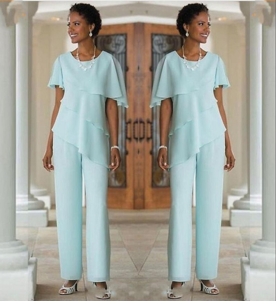 2019 Mother Of The Bride Dresses Pants Suits Wedding Guest Dress Silk Chiffon Short Sleeve Tiered Mother of Bride Pant Suits Custom Made