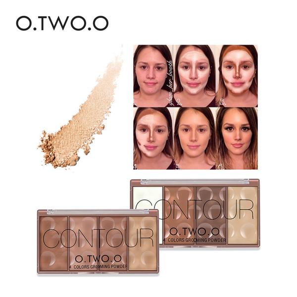 O.two.o 4 colores Face Make Up Aseo en polvo en polvo a presión Prensado Bronzer Blush Blusher Highlighter Shading