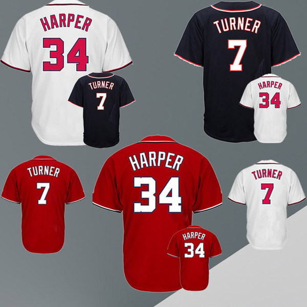 Baseball jerseys Washington Nationals jerseys 7 TURNER 34 HARPER cheap and fine embroidery logo top quality