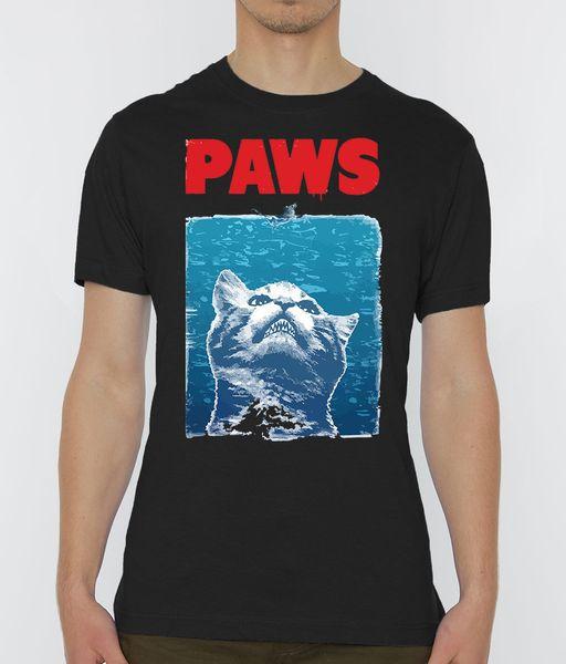 Paws Funny Legendary Movie Jaws Пародия Мужская Черная Футболка Размеры S-XXL фанатские брюки футболка