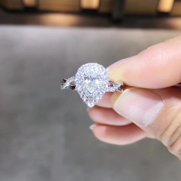 ANI 18 Karat Weißgold (AU750) Ehering 0,64 CT GIA zertifiziert I / SI1 Birne Schnitt echte natürliche Diamant Frauen Halo-Verlobungsring