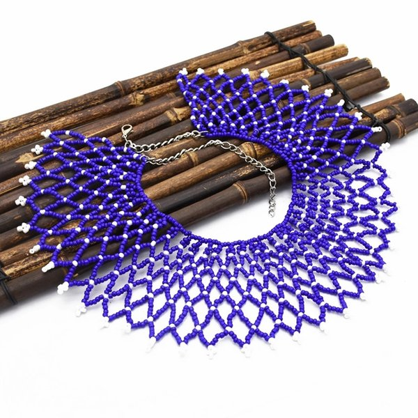 Incredibile Bohemian esotico blu nero acrilico perline nappe catene a maglia collana girocollo maxi collares collier gioielli india