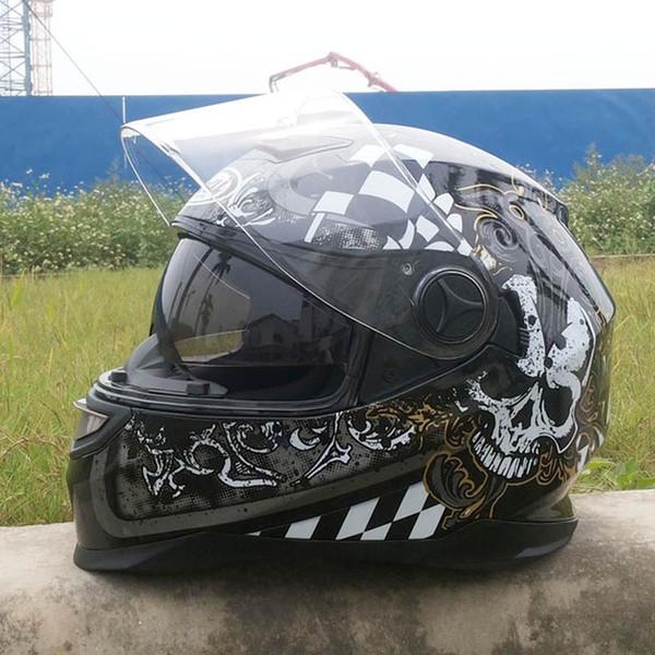 Motorradhelm mit innerer Sonnenblende Hochklappbarer Motorradhelm Herren Modular Casco Capacete Skull Dual Lens