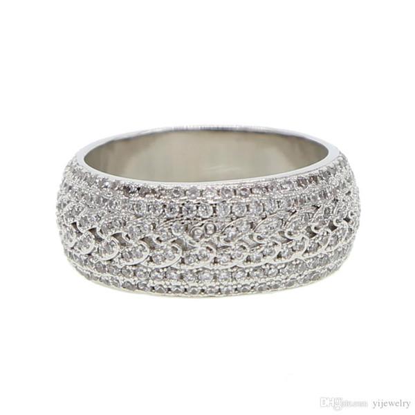 Us size 7 8 9 10 argento chiaro cubic zirconia scintillante bling ghiacciato uomini ragazzo cubano anello di fidanzamento anello di fidanzamento