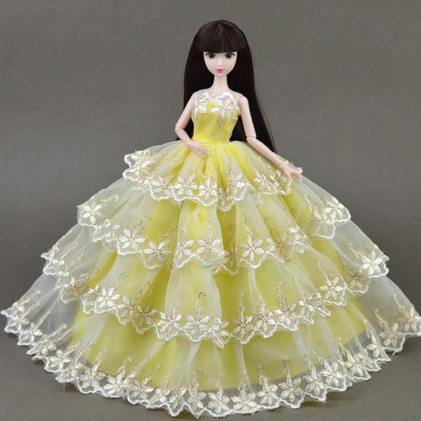 Élégant 4 couches vêtements de robe de mariée en dentelle pour Baribe pour DOD SD DD 1/6 balle poupée articulée BJD Dress Up