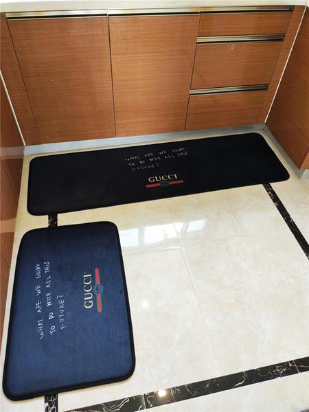 Nero Tappeto Lettera cucina Stampa design semplice Branded Carpet 2 Pezzi vestito per doccia in camera Prevenire Slippery Mat Funzione