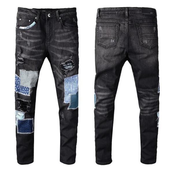 Мужская мода Новый стиль Straight Slim Fit Байкер Джинсы Брюки Проблемные Тощий рваные Разрушенный денима джинсы мытый Hiphop Брюки 5318